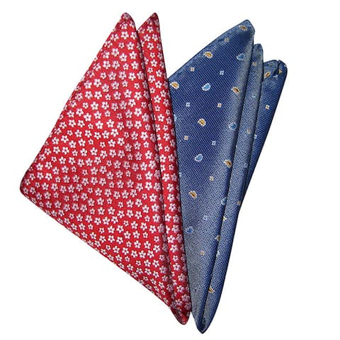 Dmitry Men's Italian Silk Pocket Squares (Pack of 2)