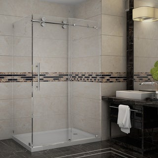 Aston Langham 48-in x 35-in x 77.5-in Completely Frameless Sliding Shower Enclosure in Chrome w. Base