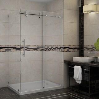 Aston Langham 48-in x 35-in x 77.5-in Completely Frameless Sliding Shower Enclosure in Chrome w. Base