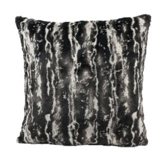 Mina Victory Faux Fur Black/ Silver 18-inch Throw Pillow
