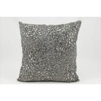 Mina Victory Luminescence Fully Beaded Pewter Throw Pillow (16-inch x 16-inch) by Nourison