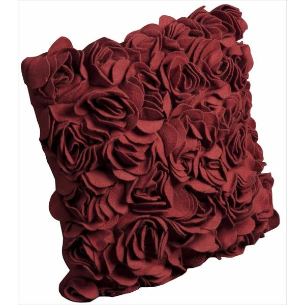 Mina Victory Felt Red Floral 16-inch Throw Pillow