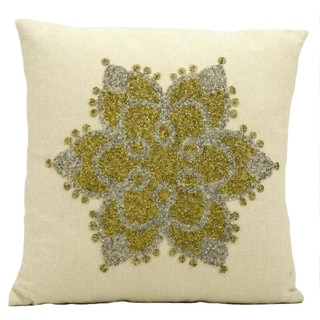 Mina Victory Luminescence Snow Flake Beige Throw Pillow (16-inch x 16-inch) by Nourison