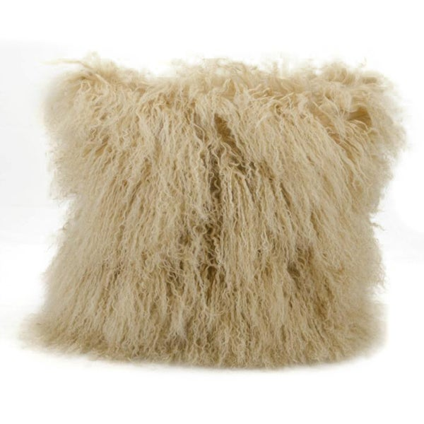 Mina Victory Couture Fur Beige Throw Pillow (16-inch x 16-inch) by Nourison