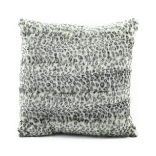 Mina Victory by Nourison Faux Fur Grey/ White 18 x 18-inch Throw Pillow