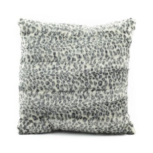 Mina Victory by Nourison Faux Fur Grey/ White 18 x 18-inch Throw Pillow