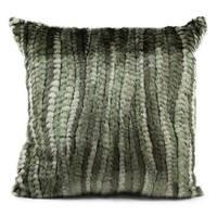 Mina Victory Faux Fur Green Stripe 18-inch Throw Pillow
