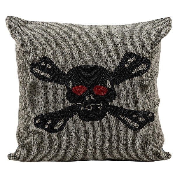 Mina Victory Lifestyle Full Beaded Skull Black/Silver Throw Pillow (18-inch x 18-inch) by Nourison