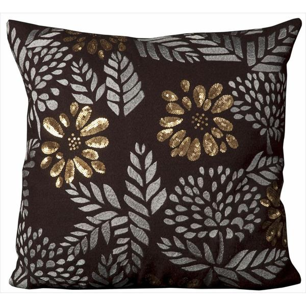 Mina Victory Luminescence Flowers Brown Throw Pillowby Nourison (20-Inch X 20-Inch)