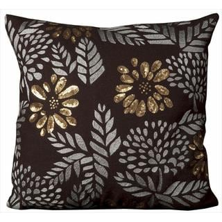 Mina Victory Luminescence Flowers Brown Throw Pillow (20-inch x 20-inch) by Nourison