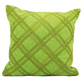 Mina Victory Natural Leather and Hide Double Diagonal Green Throw Pillow (20-inch x 20-inch) by Nourison