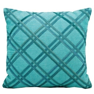 Mina Victory Natural Leather and Hide Double Diagonal Turquoise Throw Pillow (20-inch x 20-inch) by Nourison