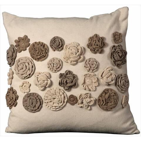 Mina Victory Felt Sewn Flowers Throw Pillowes (20-Inch X 20-Inch)