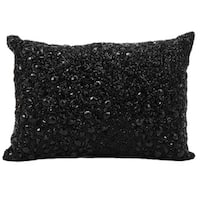 Silver Orchid Peck Fully Beaded Black Throw Pillow