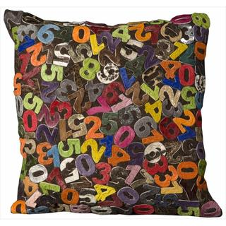 Mina Victory Natural Leather and Hide Numbers Multicolor Throw Pillow (18-inch x 18-inch) by Nourison