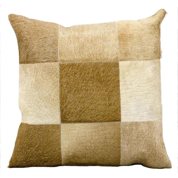 Mina Victory Natural Leather and Hide Alligator Print Beige Throw Pillow (18-inch x 18-inch) by Nourison