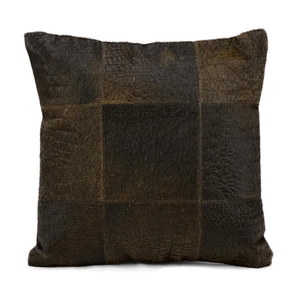 Mina Victory Natural Leather and Hide Alligator Print Brown Throw Pillow (18-inch x 18-inch) by Nourison