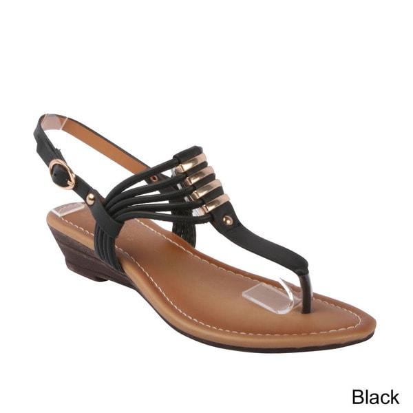 DBDK 'Remi-1' Women's T-strap Slingback Metallic Cork Wedge Thong Sandals
