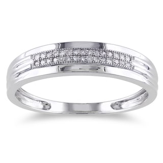 Miadora 10k White Gold 1/10ct TDW Diamond Anniversary Ring (G-H, I2-I3)