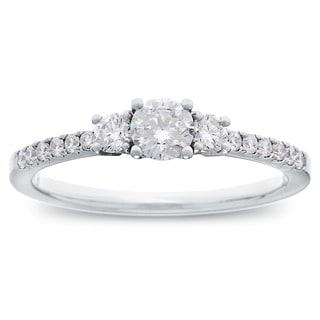 Azaro 14k White Gold 3/5ct TDW Round Diamond 3-stone Engagement Ring