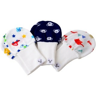 Crummy Bunny Cars, Bears, Elephants Cotton Gauze Baby Mittens (Set of 3)