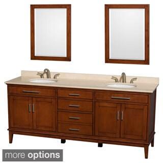 Wyndham Collection Hatton 80-inch Light Chestnut Double-sink Bathroom Vanity
