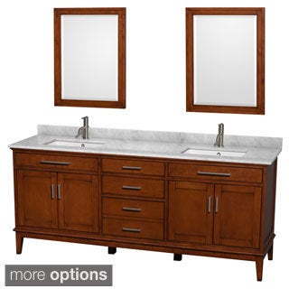 Wyndham Collection 'Hatton' 80-inch Light Chestnut Double Vanity