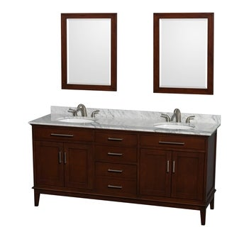 Wyndham Collection U0027Hattonu0027 72 Inch Dark Chestnut Double Vanity