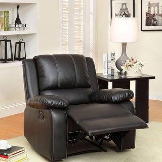 Furniture of America Gaffrey Black Bonded Leather Match Recliner