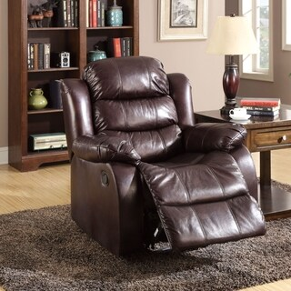 Furniture of America Berkshield Dark Brown Leather-like Fabric Recliner