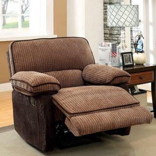 Furniture of America Hazel Mocha-Dark Brown Two-tone Chenille Fabric Recliner