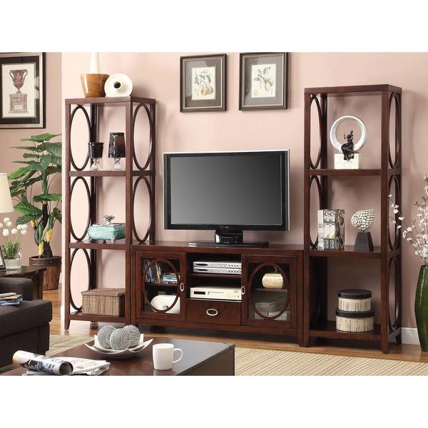 furniture of america 39 melvilon 39 cherry 3 piece tv. Black Bedroom Furniture Sets. Home Design Ideas