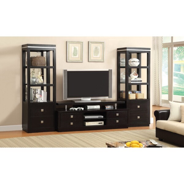 furniture of america tollany 3 piece black entertainment. Black Bedroom Furniture Sets. Home Design Ideas