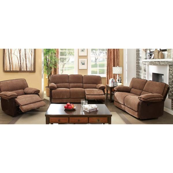 Furniture Of America Dark Brown 3 Piece Chenille Fabric Loveseat Recliner Sofa Set