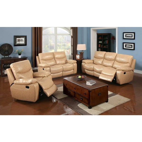 Furniture Of America Avali Camel 3 Piece Bonded Leather