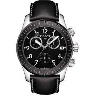 Tissot Men's T0394172605700 Black Leather Chronograph Watch