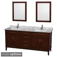 Wyndham Collection 'Hatton' 72-inch Dark Chestnut Double Vanity with Marble Top