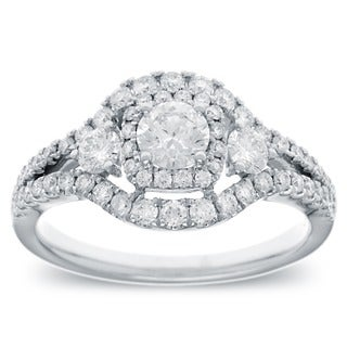 Azaro 14k White Gold 1ct TDW Vintage-style Halo Diamond Ring