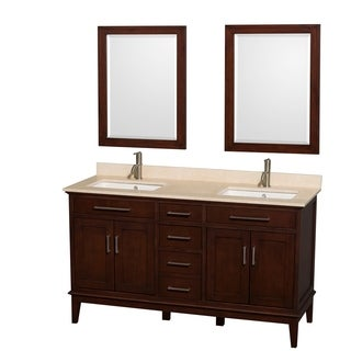Wyndham Collection Hatton Dark Chestnut 60-inch Double-sink Bathroom Vanity