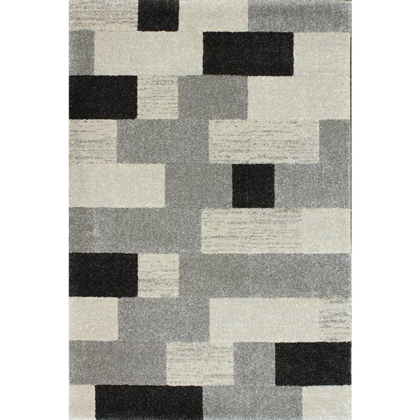 "Somette Moda Bricks Cream Frieze Transitional Rug (7'10"" x 9'10"")"