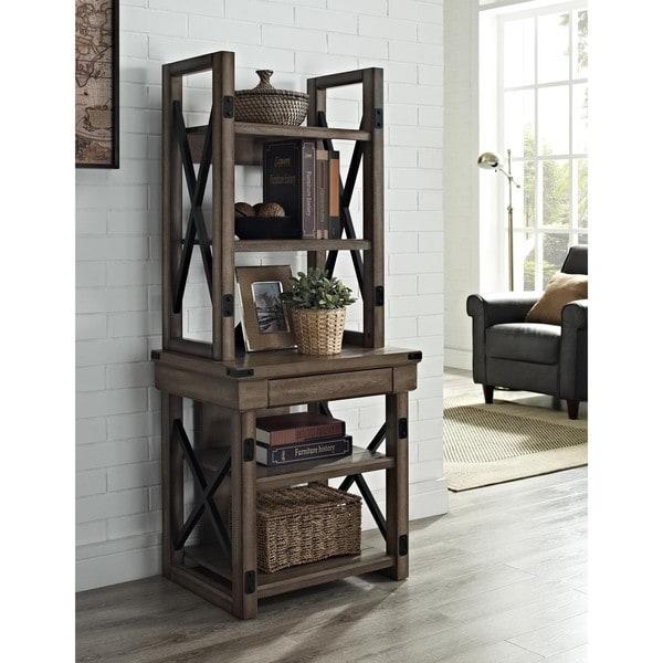 Ameriwood Home Wildwood Veneer Rustic Grey Audio Stand Bookshelf