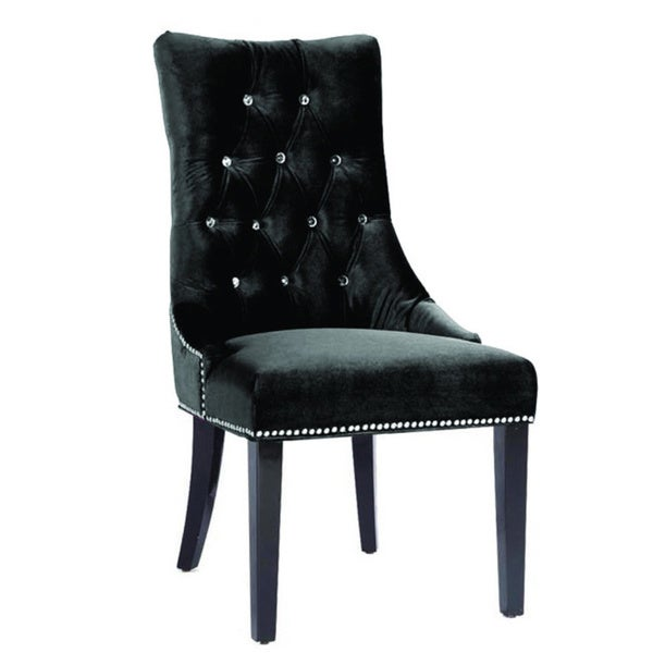 Carlyle Black Velvet Side Chair Free Shipping Today