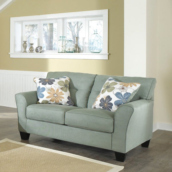Living Room Furniture Loveseats Signature Design By Ashley Kylee Lagoon Contemporary Loveseat And Accent Pillows