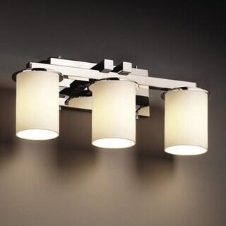 Justice Design Group Fusion Dakota 3-light Polished Chrome Glass Bath Bar