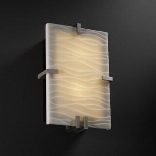 Justice Design Group Porcelina Clips 2-light Brushed Nickel ADA Wall Sconce, Waves Shade