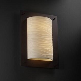 Justice Design Group Porcelina Framed 2-light Dark Bronze ADA Wall Sconce, Waves Shade