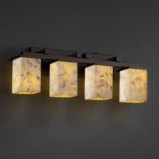 Justice Design Group Alabaster Rocks Montana 4-light Dark Bronze Bath Bar, Square - Flat Rim Shade