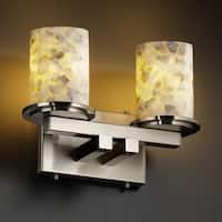 Justice Design Group Alabaster Rocks Dakota 2-light Brushed Nickel Bath Bar, Cylinder - Flat Rim Shade
