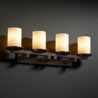 Justice Design Group Clouds Dakota 4-light Dark Bronze Bath Bar, Clouds Cylinder - Flat Rim Shade