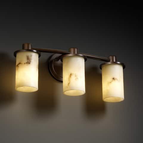 Justice Design Group LumenAria Rondo 3-light Dark Bronze Bath Bar, Faux Alabaster Cylinder - Flat Rim Shade